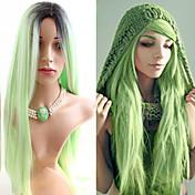 Mujer Pelucas sintéticas Sin Tapa Largo Liso Verde Raíces oscuras Entradas Naturales Peluca natural Las pelucas del traje