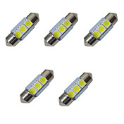5pcs doble señaló las luces llevadas 31m m 1w 3smd 5050 viruta 80-100lm 6500-7000k dc12v que leyó luces ligeras de la matrícula