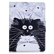 Cubierta del caso para la carpeta favorable del portatarjetas del ipad 10.5 del ipad (2017) con el cuero completo de la PU del gato del