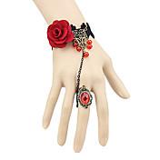 Joyas Gosurori Anillo Inspiración Vintage Rojo Accesorios de Lolita Pulsera Anillo Encaje por No tejido Gemas Artificiales