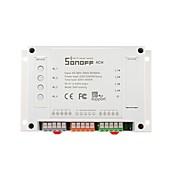 sonoff® 4ch 4 kanals 10a 2200w 2.4ghz smart hjemme wifi trådløs bryter app fjernkontroll ac 90v-250v