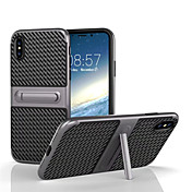 Funda Para Apple iPhone X iPhone 8 con Soporte Funda Trasera Color sólido Dura Fibra de carbon para iPhone X iPhone 8 Plus iPhone 8