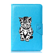 Etui Til Heldekkende etui Tablet Cases Katt Tegneserie Hard PU Leather til