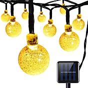 solstreng lys 8 moduser 23ft 30leds krystallkule streng lys for hagen sommerferie fest varm hvit