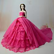 Vestidos Vestir por Muñeca Barbie  Rosa Rojo Tela de Encaje Organdí Vestido por Chica de muñeca de juguete