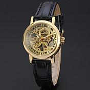 WINNER Mujer Cuerda Manual Reloj de Pulsera Huecograbado Piel Banda Lujo / Vintage / Casual / Elegant / Moda Negro