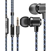 j1 en auriculares con cable de oído auricular de juego plástico dinámico con auriculares en el micrófono