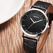 SMAEL Mujer Pareja Reloj de Moda Reloj Casual Chino Cuarzo Esfera Grande Piel Banda Casual Negro Marrón
