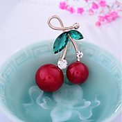 Mujer Encantador Cristal / Perla artificial Broche - Fruta / Dulce Irregular Rojo Broche Para Navidad / Boda