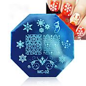 3 unids nail printing template placa de impresión de navidad octagonal plantilla mc series 3 color mezclado mujeres decoración cosmética