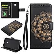Etui Til Samsung Galaxy J5 (2017) J3 (2017) Kortholder Lommebok med stativ Flipp Inngravert Heldekkende etui Mandala Hard PU Leather til