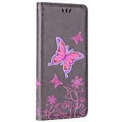 Etui Til Samsung Galaxy Note 8 Kortholder Lommebok med stativ Flipp Inngravert Heldekkende etui Sommerfugl Hard PU Leather til Note 8