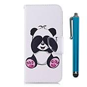 Etui Til Apple iPhone X iPhone 8 Plus Kortholder Lommebok med stativ Flipp Magnetisk Heldekkende etui Panda Hard PU Leather TPU til