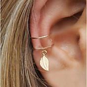 Mujer Geométrico Pendientes con clip / Puños del oído / Un pendiente - Forma de Hoja Importante Dorado / Plata Para Fiesta de Noche / Calle