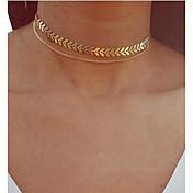 En Capas Gargantillas / Collares con colgantes / Collares en capas - Forma de Hoja Vintage, Bohemio, Europeo Dorado, Plata 30 cm Gargantillas Para Fiesta / Noche, Regalo
