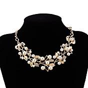 store halskæder Choker Halskjede - Imitert Perle Blomst Europeisk, Søt Gull, Sølv 54 cm Halskjeder Til Bryllup, Aftenselskap