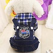 Roedores / Perros / Gatos Mono Ropa para Perro Lunares y Cuadros / Vaqueros Fucsia / Rojo / Verde Algodón Disfraz Para mascotas Mujer Deportes y Exterior / Cuadro