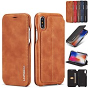 Funda Para Apple iPhone XR / iPhone XS Max Soporte de Coche / con Soporte / Flip Funda de Cuerpo Entero Un Color Dura piel genuina para iPhone XS / iPhone XR / iPhone XS Max