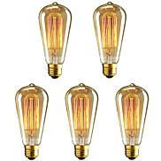40 W E26/E27 ST64 Warm White 2200-2700 K Incandescent Vintage Edison Light Bulb AC 220-240 V