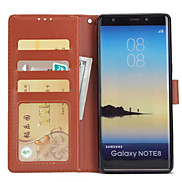 For Case Cover Card Holder Wallet with Stand Flip Full Body Case Solid Color Hard PU Leather for Samsung Galaxy Note 8 Note 5 Note 4