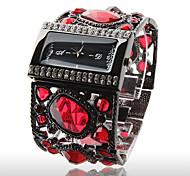 Damen Armbanduhr mit Schöner  Roter Diamanten Dekoration