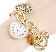 Analoge Damen Quarz Armbanduhr in Herzform (Gold)