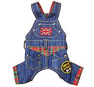 Cane Tuta Abbigliamento per cani Cotone Inverno Primavera/Autunno Cowboy Di tendenza Jeans Blu Costume Per animali domestici