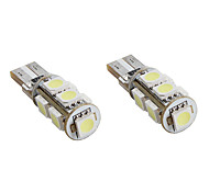 T10 1.5W 9x5050 SMD White Light LED Bulb CANBUS for Car Signal Lamps (2-Pack, DC 12V)