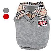 abordables -Perro Camiseta Ropa para Perro Británico Gris Rojo Algodón Disfraz Para mascotas Hombre Clásico