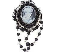 Z&X®  Exquisite Vintage Relievo Head Portrait Black Pearl Brooch
