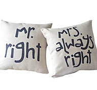cheap -Square Cotton/Linen Text Pillow Cover With Zipper 45cm*45cm*2cm
