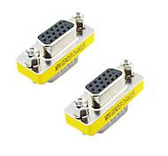 VGA 15pin Male to Female Adapter (Silver & Yellow, 2 PCS)
