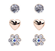 Korean fashion  drill peach heart flower Earrings(3 pairs a set)