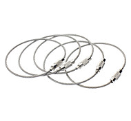 cheap -Outdoor Multi-Functional Stainless Steel Rope Keychain Ring - Silver(5 Pcs)