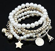 cheap -Women's Pearl Tower Ball Star Charm Bracelet Wrap Bracelet - Unique Design Friendship Fashion Jewelry White Silver Bracelet For Christmas