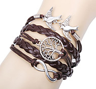 cheap -Women's Charm Bracelet Leather Bracelet Wrap Bracelet Personalized Basic Friendship Multi Layer Handmade Leather Infinity LOVE Jewelry