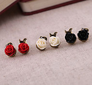 Недорогие -Жен. Серьги-гвоздики Резина Сплав Розы Цветы Бижутерия Для вечеринок Повседневные Бижутерия