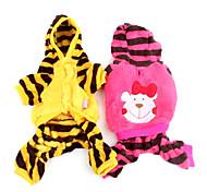 Cane Felpe con cappuccio Tuta Abbigliamento per cani Cotone Inverno Primavera/Autunno Casual Rigato Giallo Rose Costume Per animali
