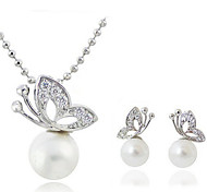 Women's Jewelry Set Classic Party Birthday Engagement Gift Daily Pearl Crystal Silver Plated Imitation Diamond Alloy Butterfly Animal