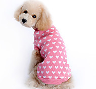 Cat Dog Sweater Dog Clothes Woolen Winter Keep Warm Hearts Pink Costume For Pets