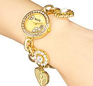 Frauen Diamante runden Zifferblatt Flower Band Quarz Analog Armband Uhr (verschiedene Farben)