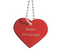 Персональный подарок форме сердца красный Pet Id Name Tag с цепочкой для собак