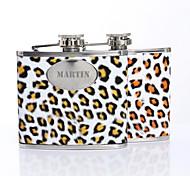 Cadeau Leopard Print Pattern personnalisé 5 onces cuir PU majuscules Flacon