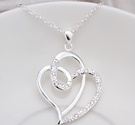 cheap -Women's Heart Shape Love Simple Style Pendant Necklace Cubic Zirconia Copper Rhinestone Silver Plated Pendant Necklace Party Thank You