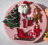 baratos -Molde Desenhos Animados 3D Torta Biscoito Bolo Silicone Amiga-do-Ambiente Natal Alta qualidade