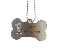 Недорогие -Персональный подарок Кость Форма Серебряный Pet Id Name Tag с цепочкой для собак