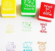 6pcs Set Teacher Encourage Stamp Cartoon Cute English Ink Pad