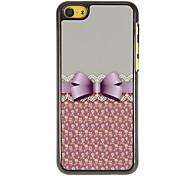 Bowknot elegante com Lace Padrão Hard Case PC com 3 Pacotes de protetores de tela para iPhone HD 5C