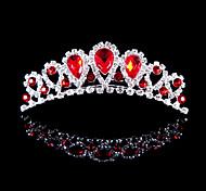 Недорогие -сплав тиары с rhinestone свадьба / участник головной убор красный элегантный стиль