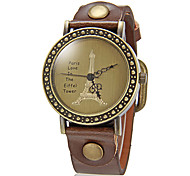 Women's Vintage Tower Pattern Round Dial Pu Band Quartz Analog Wrist Watch (Assorted Colors) Cool Watches Unique Watches